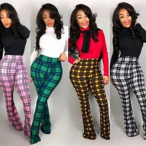 Stylish Plaid Printed High Waist Flared Pants ML-7242