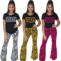 2020 Fashion Letter Printed Flared Pants Sets 2 Pieces ML-7255
