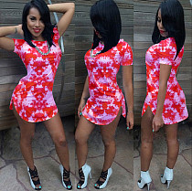 Fashion Print Short Sleeves Side Slits Mini Dress YIS-826