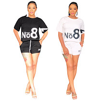 Casual Women Round Collar Short Sleeves Summer Two Pieces Set YIS-633