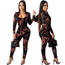 Fashion Letter Print Jacket + Straps Jumpsuit 2 Pieces Set ML-7265