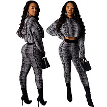 Fashion Printed Full Sleeve Hooded Two Pieces Sets ML-7275