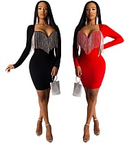 Sexy Long Sleeves Tassel Wrapped Chest Skinny Midi Dress YIS-734