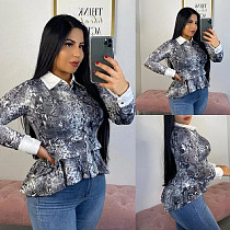 Fashion Snakeskin Printed Lapel Flounced Tops ML-7259
