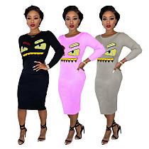 Cartoon Embroidery Round Collar Skinny Maxi Dress BS-1156