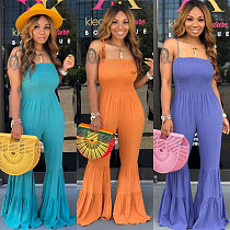 Women Straps Strapless Long Flared Jumpsuits ML-7226