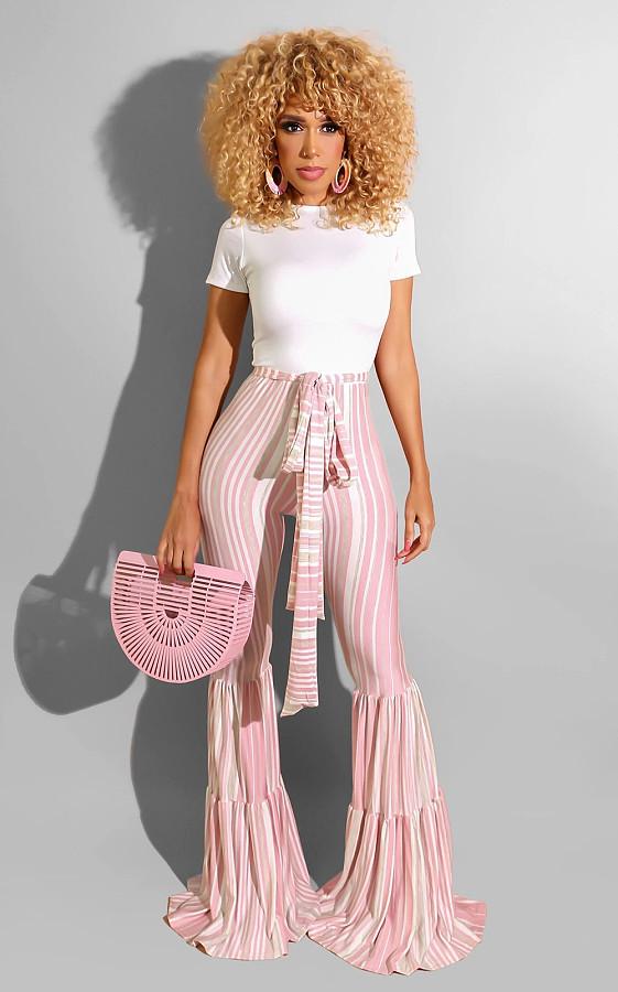 Women Printed Striped High Waist Flared Pants BS-1125