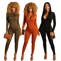 Solid Color Front Zipper Bodycon Long Jumpsuits BS-1130