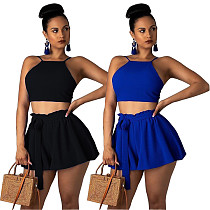 Sexy Crop Vest and Shorts 2 Pieces Set BS-1046