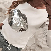 Lips Sequins Long Sleeve Round Collar Leisure T-shirt CYA-8304