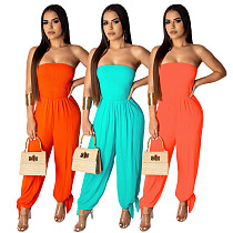 Women Solid Color Sexy Strapless Loose Jumpsuit ML-7205