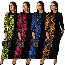 Fashion Women Leopard Printed Patchwork Long Dress ML-7239