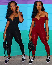 Off Shoulder V-neck Wrap Bra Solid Long Jumpsuits CHY-1049