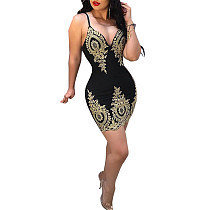 Sexy Spaghetti Straps Wrapped Chest Package Hip Mini Dress CYA-8291