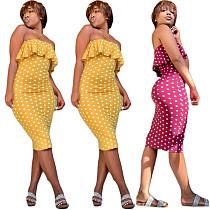 Sexy Strapless Ruffles Dots Skinny Midi Dress YIY-5036