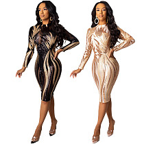 Sexy Sequined Full Sleeves Tight Nightclub Midi Dress CYA-8201