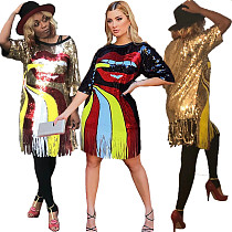 Fashion Sequined Round Collar Tassel Nightclub Midi Dress CYA-8237