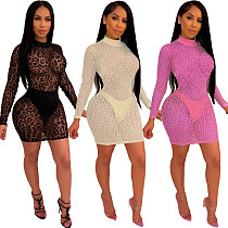 Women Sexy Long Sleeve Round Neck Short Lace Dress YIY-5025