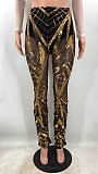 Women Sexy Perspective Sequins Long Pants CYA-8250