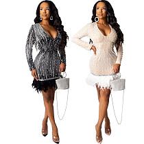 2020 Fashion Sequins Feather Bodycon Nightclub Mini Dress CYA-8222