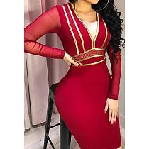 Sexy V Neck Mesh Patchwork Skinny Mini Dress CYA-8286