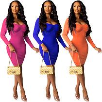 Women Full Sleeves Folds Package Hips Mini Dress YIY-5108