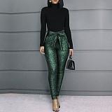 Women Sequin Tight Long Pants(with Belt)CYA-8232