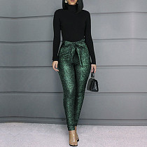 Women Sequin Tight Long Pants(with Belt)CYA-8232