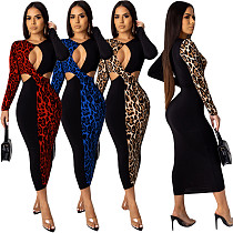 Sexy Hollow Out Leopard Printed Patchwork Skinny Maxi Dress YIY-5120