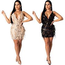 Sexy Deep V Sequin Feather Package Hips Short Dress CYA-8190
