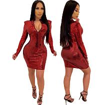 Red Sequined Long Sleeves Package Hips Mini Dress CYA-8249