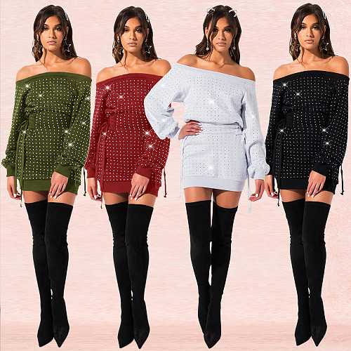 Sexy Off Shoulder Hot Drilling Short Sweater Dress BY-3316