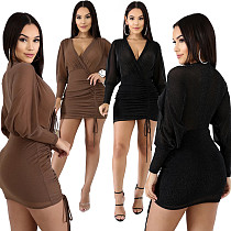 Sexy V Neck Full Sleeves Package Hips Short Dress BY-3303