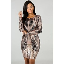 Sexy Long Sleeves Round Collar Package Hips Sequin Dress MS-1139
