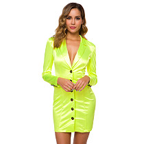 Solid Color Sexy Buttons Mini Suit Dress MS-1006