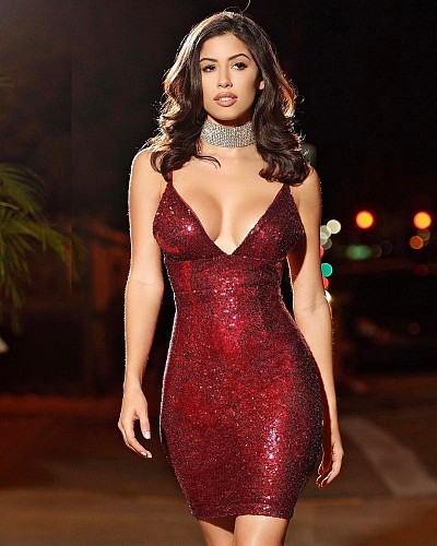 Sexy Low-cut Straps Package Hips Mini Sequin Dress MZ-2139