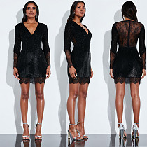 Women Black V-neck Full Sleeve Lace Sequins Short Dress BY-3301