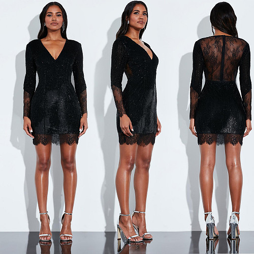Women Black V-neck Full Sleeve Lace Sequins Short Dress BY-3301