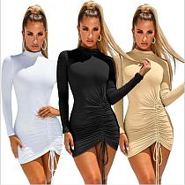 Women Long Sleeves Solid Color Folds Tight Mini Dress MZ-2479