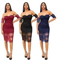 Sexy Wrapped Chest Drop-shoulder Folds Skinny Mesh Midi Dress MZ-2530
