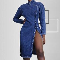Women Long Sleeves Single-breasted Midi Denim Dress OSS-019