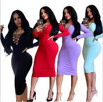 2020 Casual Women Package Hips Long Sleeves Bandage Dress MZ-2508