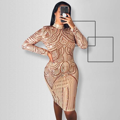 Fashion High Neck Long Sleeve Skinny Sequin Dress OSS-19509