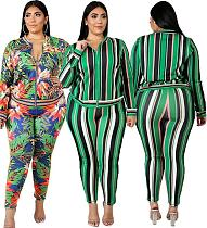 Fashion Printing Zipper Plus Size Two Pieces Set OSS-19438