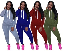 Casual Women Long Sleeves Hoodies and Bodycon Pants 2 Pieces Set YM-9178