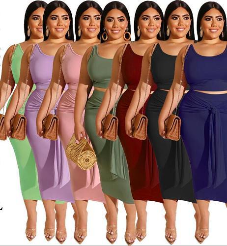 Leisure Women Solid Color Plus Size Bandage Maxi Skirt Set 2 Pieces  OSS-19316