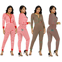 Casual Women Stripes Full Sleeves Skinny Jumpsuits YM-9180