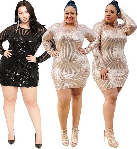 Sexy Package Hips Round Neck Long Sleeve Plus Size Sequin Dress OSS-19478