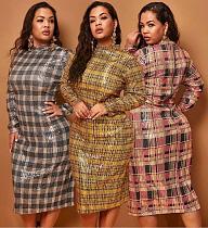 Fashion Women Long Sleeve Round Neck Skinny Plus Size Midi Sequin Dress OSS-19523