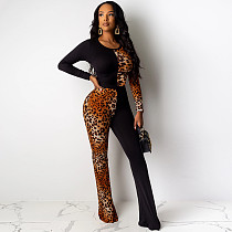 Leopard Print Patchwork Skinny Long Jumpsuits YIY-5148